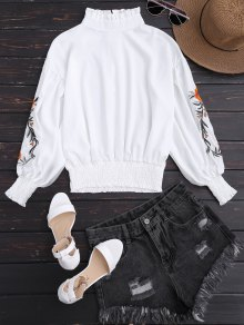 Puff Sleeve Floral Embroidered Ruffled Blouse - White L