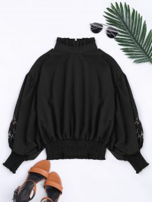 Puff Sleeve Floral Embroidered Ruffled Blouse - Black S