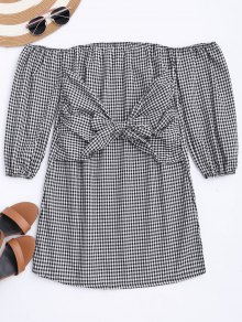 Off The Shoulder Bowknot Checked Dress