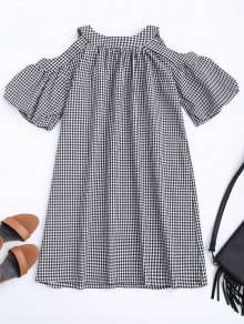 Cold Shoulder Puff Sleeve Checked Dress