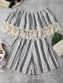 Off Shoulder Printed Tassel Romper - Stripe M