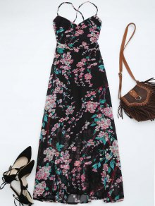 Floral Print Open Back Maxi Dress