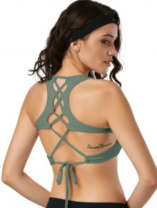 Scoop Back Lace Up Padded Sporty Bra
