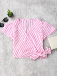 Striped Wrap Cropped Top - Pink S
