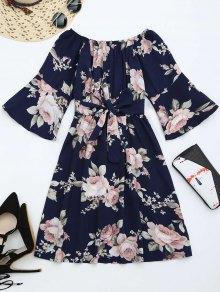 Off The Shoulder Floral Print Belted Dress - Purplish Blue M