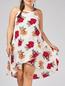 Plus Size Floral Overlap Tent Dress - White 2xl