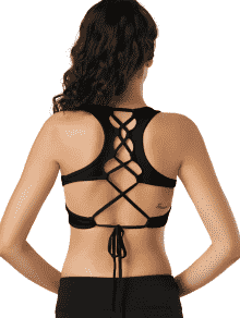 Scoop Cutout Lace Up Padded Activewear Bra - Black S