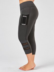Plus Size Fishnet Mesh Panel Fitness Leggings - Gray Xl