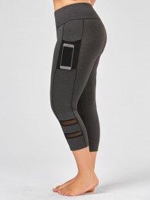 Plus Size Fishnet Mesh Panel Fitness Leggings - Gray 3xl