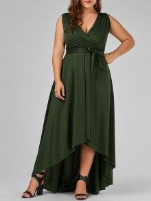 عالية انخفاض الحجم الكبير V فستان الرقبة  - الجيش الأخضر Xl