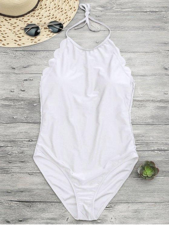 shops Scalloped High Neck Swimwear - WHITE S