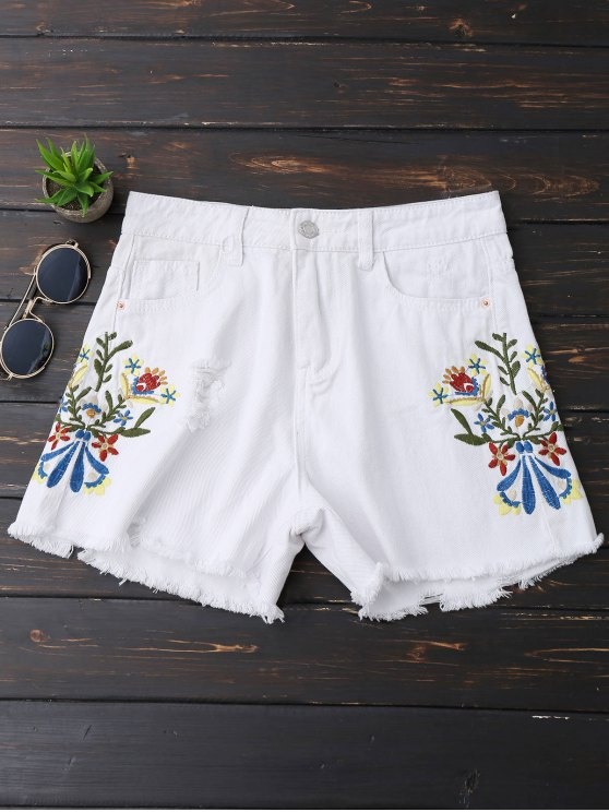 Bordado bordado Hem Rasgado Denim Shorts - Blanco M