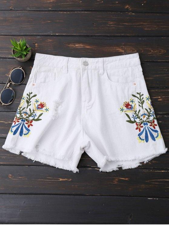 Bordado bordado Hem Rasgado Denim Shorts - Blanco S