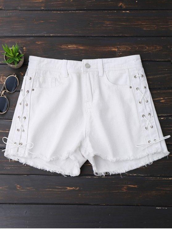 Pantalones cortos bordados del dobladillo del lado del dobladillo - Blanco S