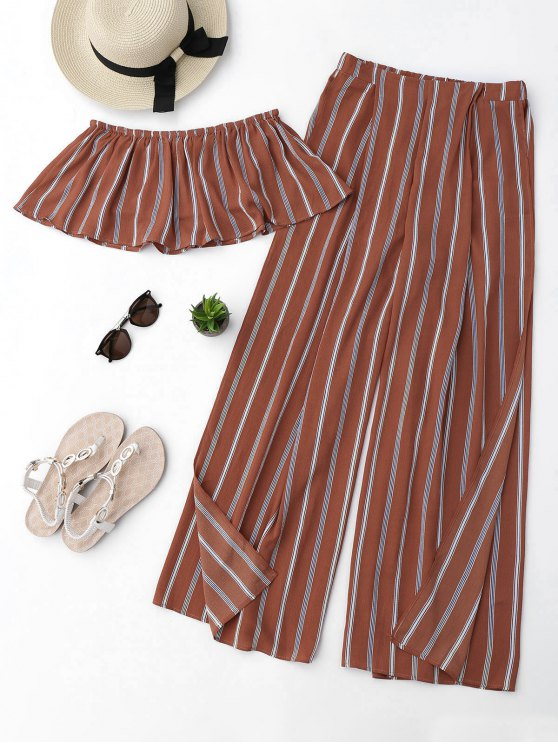 shop Striped Tube Crop Top and High Slit Pants - BRICK-RED M