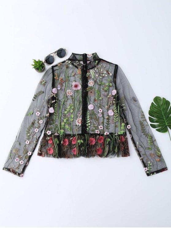 unique Floral Embroidered Sheer Mesh Blouse - BLACK L