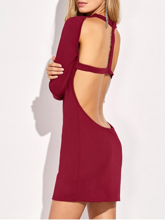 shop Long Sleeve Backless Bodycon Dress - RED M