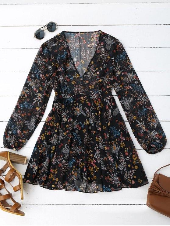 Semi Sheer vestido de gasa de impresión floral - Floral M