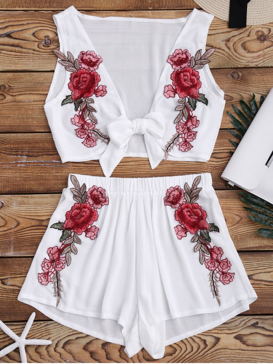 ladies Bowknot Floral Applique Top and Shorts - WHITE S
