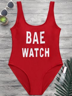 Shaping Low Back One Piece Graphic Swimsuit - Red M