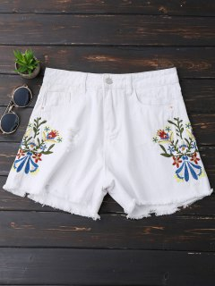 Embroidered Frayed Hem Ripped Denim Shorts - White S