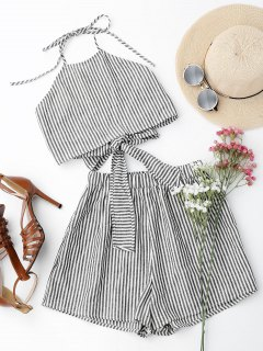Halter Striped Two Piece Suit - Stripe S