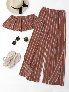 Striped Tube Crop Top And High Slit Pants - Brick-red S