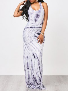 Tie Dyed Maxi Tank Dress - White And Purple L