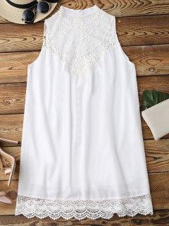 Sleeveless Scalloped Lace Panel Shift Dress - White M