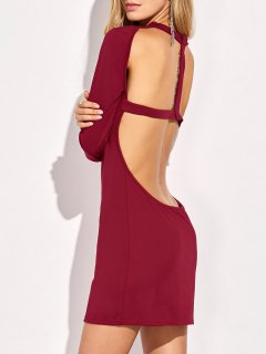 Long Sleeve Backless Bodycon Dress - Red S