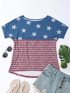 Boat Neck American Flag Print Tee - Us Flag S