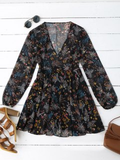 Semi Sheer Floral Print Chiffon Dress - Floral L