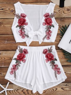 Bowknot Floral Applique Top And Shorts - White M