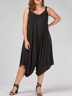 Plus Size V Neck Baggy Capri Jumpsuit - Black 3xl