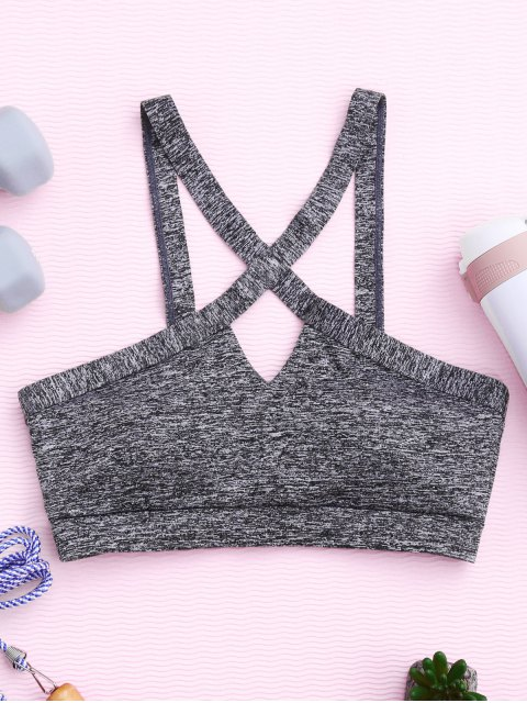 unique Cross Front Heathered Sporty Bra - GRAY L Mobile