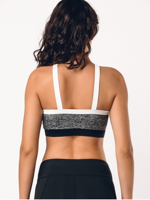 buy Color Block Cross Front Heathered Sporty Bra - GRAY L Mobile