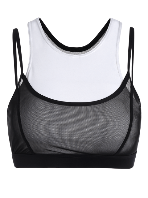 women's Two Tone Mesh Panel Racerback Sporty Bra - WHITE AND BLACK L Mobile