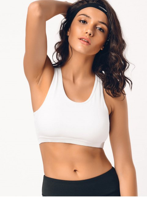 outfit Padded Mesh Panel Racerback Sporty Bra - WHITE M Mobile