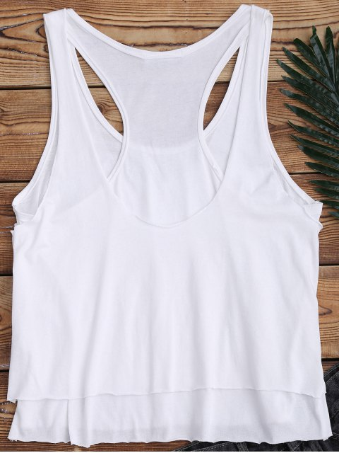 hot Layered Slit Racerback Sporty Tank Top - WHITE M Mobile