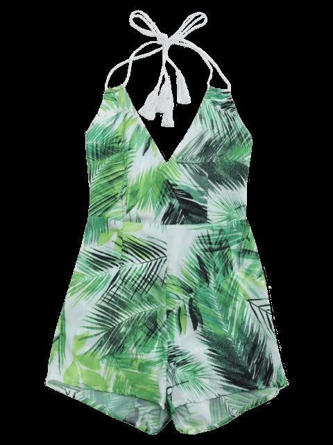 latest Halter Open Back Leaves Print Romper - LIGHT GREEN S Mobile