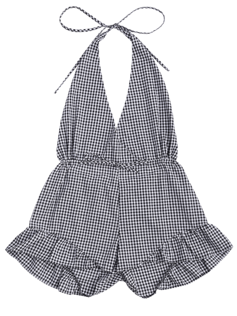 fancy Halter Open Back Ruffle Checked Romper - CHECKED S Mobile