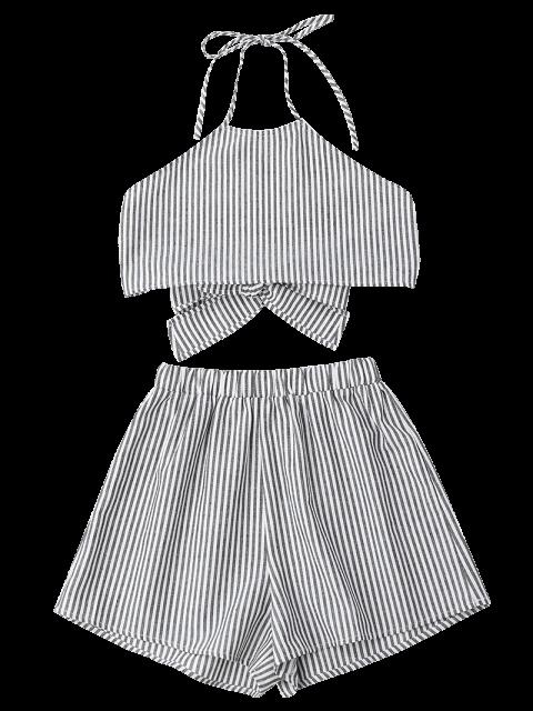 online Halter Striped Two Piece Suit - STRIPE S Mobile