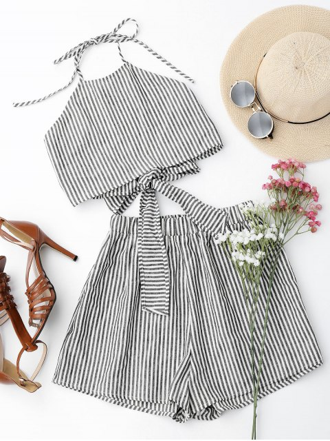 new Halter Striped Two Piece Suit - STRIPE M Mobile