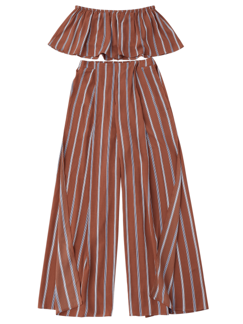 outfits Striped Tube Crop Top and High Slit Pants - BRICK-RED L Mobile