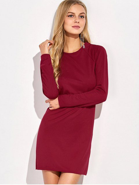 outfit Long Sleeve Backless Bodycon Dress - RED XL Mobile