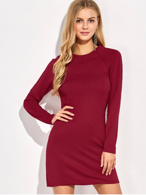 shop Long Sleeve Backless Bodycon Dress - RED M Mobile