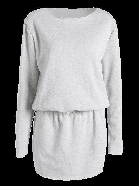 women Long Sleeve Drawstring Mini Sweatshirt Dress - GRAY S Mobile