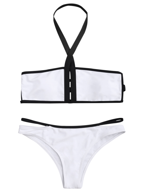 new Padded Two Tone Bandage Bikini Set - WHITE L Mobile