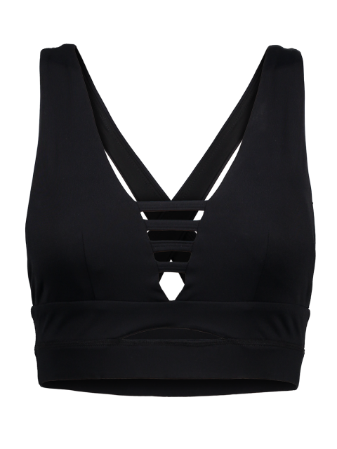 outfits Cross Back Ladder Cut Padded Sporty Bra - BLACK M Mobile