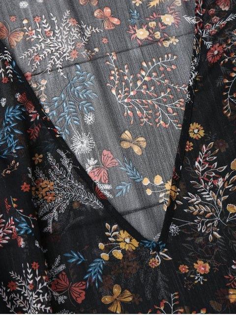 women Semi Sheer Floral Print Chiffon Dress - FLORAL S Mobile